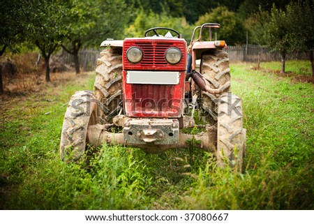 Red tractor in grass in an orchard - stock photo