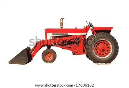 Red tractor isolated on white
