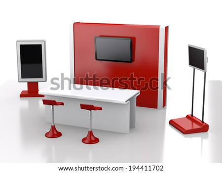 red trade exhibition booth or stall. 3d render