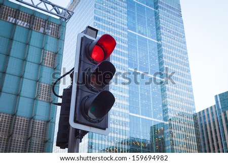 Red Traffic Light in the city  - stock photo