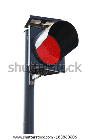 Red Traffic light sign symbol with clipping path - stock photo