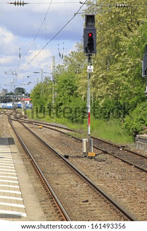 Red train signal - stock photo