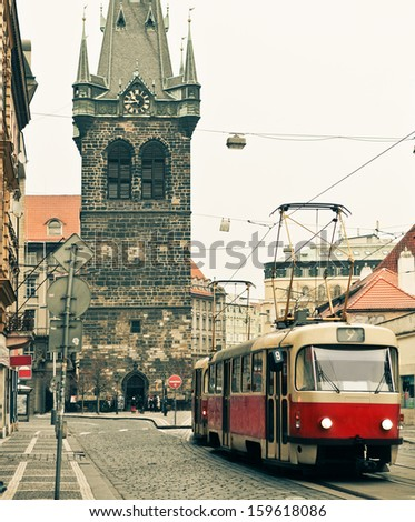 Red tram at old street in Prague. Prague historical Center - stock photo
