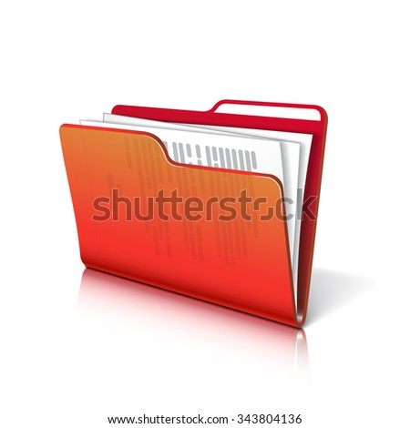 Red transparent folder with papers. Document icon.  - stock photo