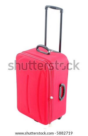 Red travel bag - suitcase on white .
