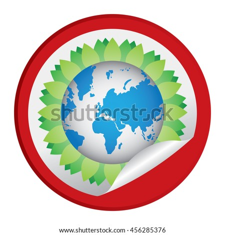 Red Tree Leaf Around The Earth Infographics Icon on Circle Peeling Sticker Isolated on White Background  - stock photo