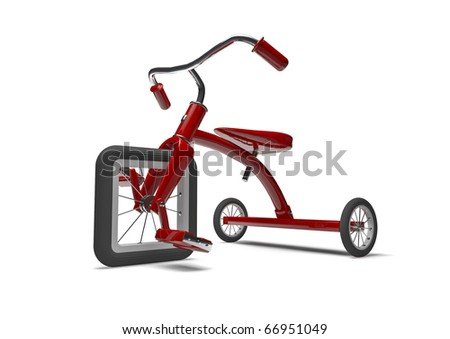 Red tricycle with slight design flaw - stock photo