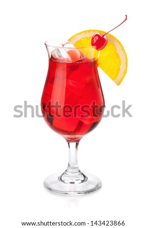 Red tropical cocktail. Isolated on white background - stock photo