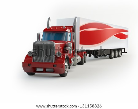 red truck - stock photo