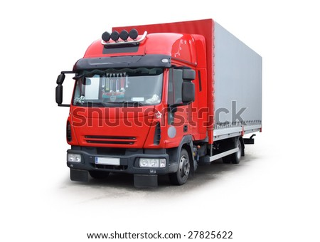 Red truck isolated on white, work path included - stock photo