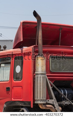 Red truck with goods to be delivered. - stock photo