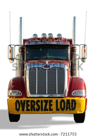 Red truck with Oversize Load banner isolated over a white background - stock photo