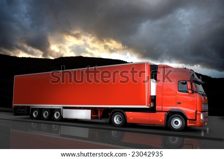 red truck with sky - stock photo