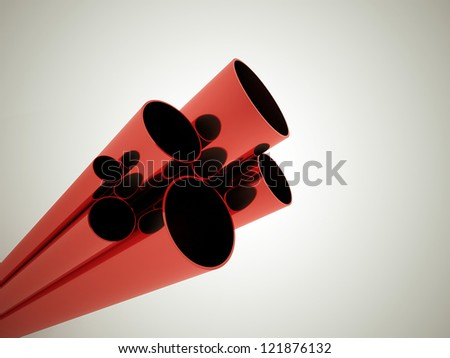 Red tubes concept - stock photo