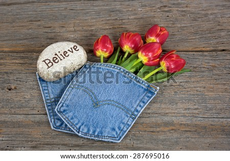 red tulip bouquet in blue jean pocket with inspirational message printed on a rock - stock photo