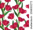 Red tulips seamless floral pattern on white background - stock photo