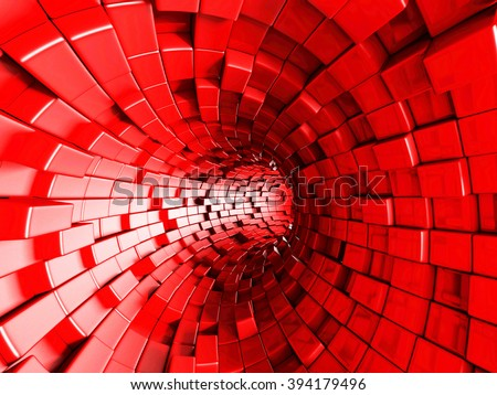 Red Tunnel Abstract Architecture Background. 3d render illustration - stock photo