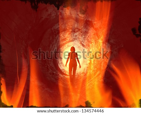 Red tunnel covered by flames leading to the rotating light. May symbolise way to hell after death, clinical death, escape, psychedelic vision or frame from horror or SF movie. - stock photo