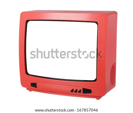 Red TV isolated on white background - stock photo