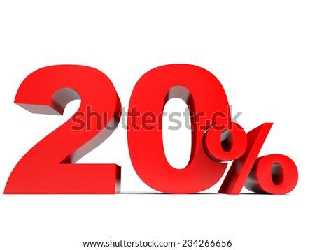 Red twenty percent off. Discount 20%. 3D illustration. - stock photo