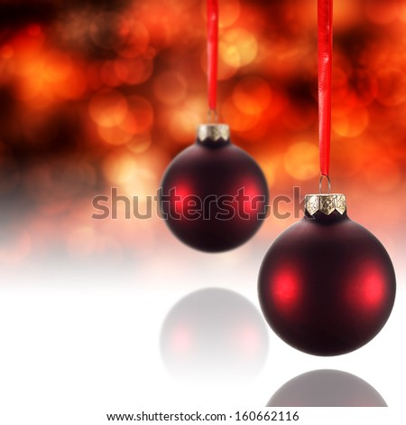 red two balls and glass background  - stock photo