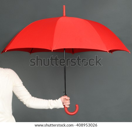 red umbrella - stock photo
