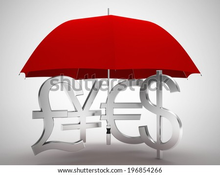 red umbrella money signs - stock photo