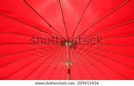 red umbrella underside