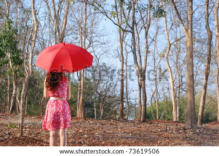Red umbrella woman in Summer