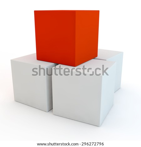 red unique cube on a pyramid from white cubes with empty side