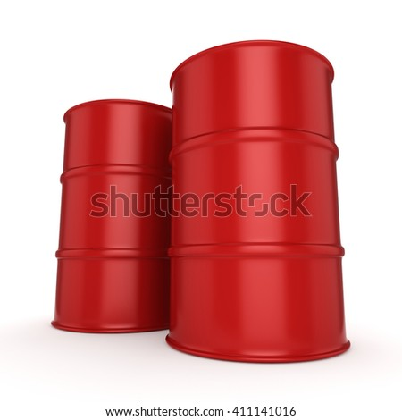 Red Untitled barrels  on a white background - stock photo