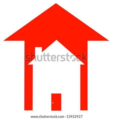 red up arrow with house inside - rising prices in housing market