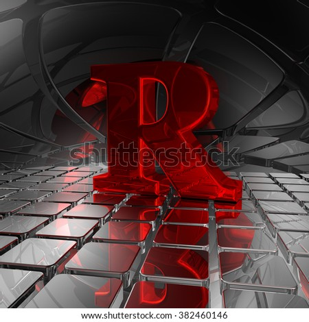 red uppercase letter r in futuristic space - 3d illustration - stock photo