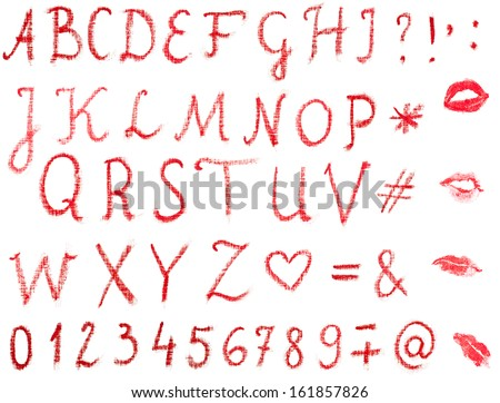 Red, uppercase lipstick alphabet made of written letters. Whole alphabet, signs and lips marks isolated on white. - stock photo