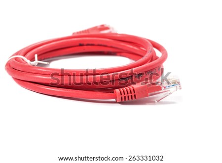red UTP  LAN cable on a white background - stock photo