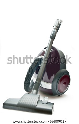 Red vacuum cleaner isolated on the white background. - stock photo