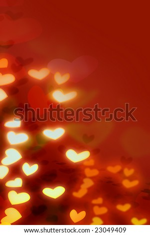Red Valentine background with many colorful hearts