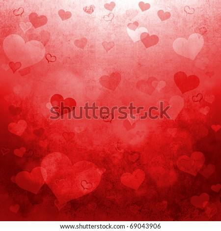Red Valentine's day background with hearts - stock photo