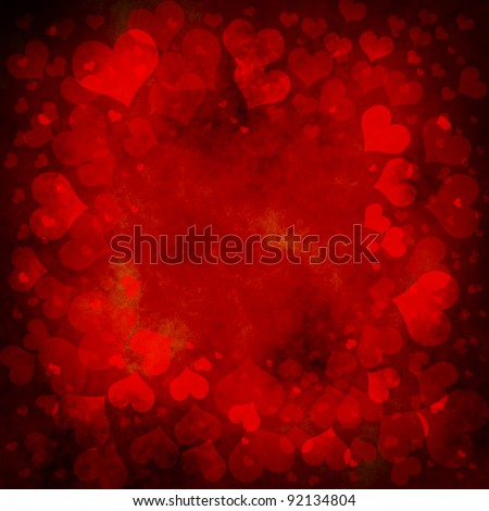 red valentines background with hearts - stock photo