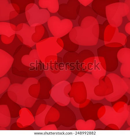 Red Valentines day seamless background with hearts. - stock photo