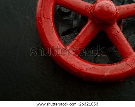 red valve - stock photo