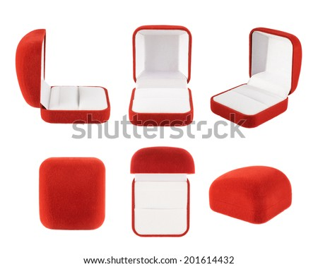 Red velvet box for the ring, isolated over the white background, set of six foreshortenings - stock photo