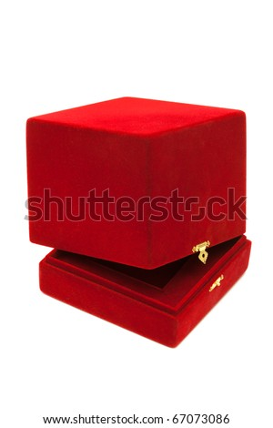 red velvet box with a white background