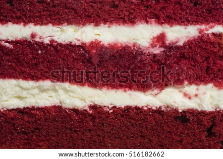 red velvet cake face cut to texture and cream can use to display or montage