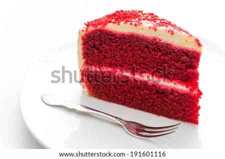 Red velvet cake isolated on white - stock photo