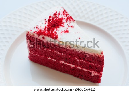 Red velvet cake with tea - stock photo