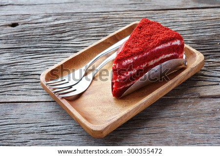 Red Velvet Cake with wood plate - stock photo