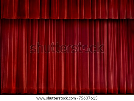 Red velvet concert curtain - stock photo