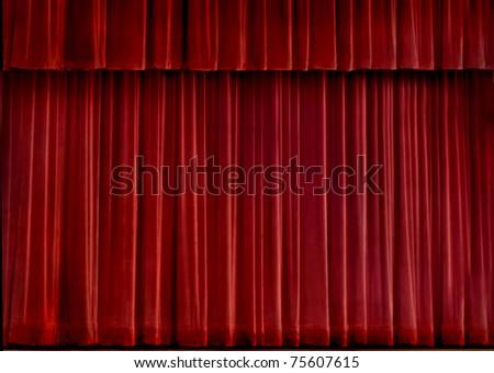 Red velvet concert curtain - stock photo