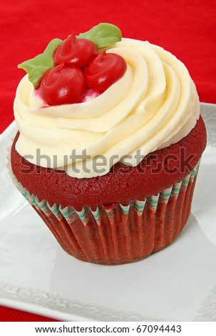 Red Velvet Cupcake With Holiday Theme - stock photo